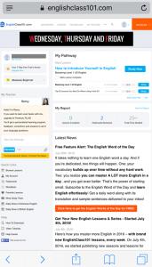 Englishclass101のDashboardページ